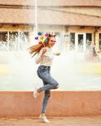 Girl teenage Spinner Array Tool Stock Photos