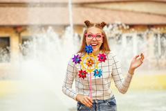 Girl teenage Spinner Array Tool portrait Stock Photos