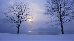 Lake Toya in the winter morning Stock Footage