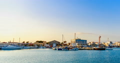 Harbor Coastline in Limassol Cyprus Time Lapse. Stock Footage