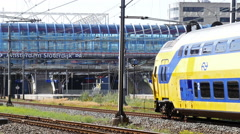 Trains riding to Amsterdam Sloterdijk, 4k footage. Stock Footage