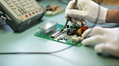 Electronics engineer configure the device Stock Footage