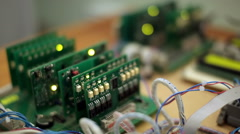 Blinking leds on green circuit board Stock Footage