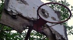 Abandoned basketball hoop Stock Footage