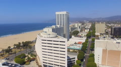 Flying through Downtown Santa Monica Stock Footage