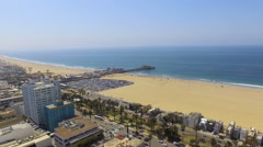 Santa Monica Beach & Pier in Southern California Stock Footage