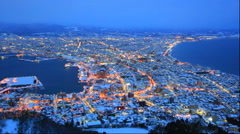 Night view of Hakodate city in winter from Hakodate yama Stock Footage