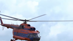 Сlose-up of the helicopter Mi-8 which flies in slow motion Stock Footage
