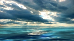 Blue sea and sky with white clouds. Stock Footage