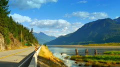 4K Mountains and Marsh Plain Landscape, Nature Valley, Road Stock Footage