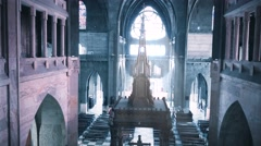 People inside of neo gothic cathedral Stock Footage