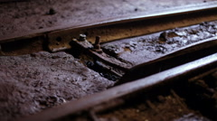 Railway switch in ore mine Stock Footage