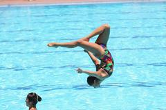 Swimmers Performing, Agility Stock Photos
