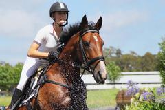 Horse Rider Crossing Water, Equestrian Event Stock Photos