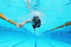 Woman Swimming in Pool, Underwater Stock Photos