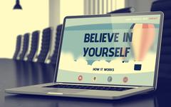 Laptop Screen with Believe In Yourself Concept. 3D Rendering Stock Illustration