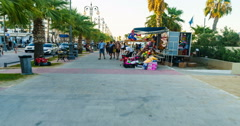 Walking at Beach Promenade in Larnaca Cyprus Stock Footage
