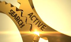 Active Search on the Golden Gears. 3D Illustration Stock Illustration