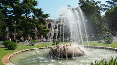 Fountain at Piazza Bra main square Stock Footage