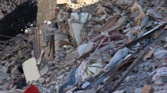 Earthquake aftermath details of rumbles Stock Footage