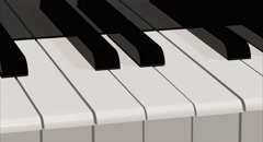 A close up traveling of a Piano keyboard. 4K video Stock Footage