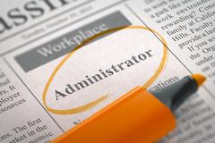 Now Hiring Administrator. 3D Rendering Stock Illustration