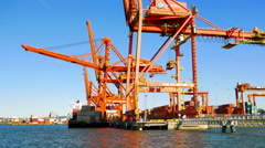 4K Shipping Facility Tracking Shot, Freight Cargo and Ship, Shipping Industry Stock Footage