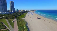 Aerial view of South Beach, Miami Stock Footage