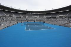 General View of Hard Tennis Court Stock Photos