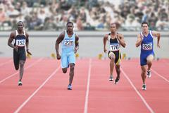 Runners Competing in Race Stock Photos