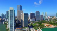 MIAMI - FEBRUARY 25, 2016: Aerial view of Downtown buildings. Miami attracts 15 Stock Footage