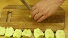 Cutting green apple Stock Footage