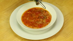 Serving of vegetable soup Stock Footage
