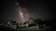 4K Time Lapse Milky Way Volcano Lava Flowers Tenerife Canary Islands Spain Stock Footage