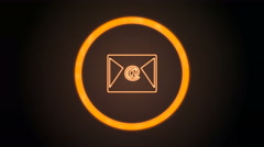 Orange email Icon with digital code Stock Footage