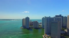 MIAMI - FEBRUARY 25, 2016: Aerial view of Brickell Key. Miami attracts 15 Stock Footage
