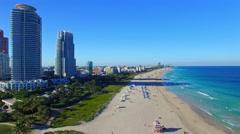 South Beach, Miami. Beautiful aerial view of coastline Stock Footage
