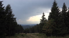 4k Sösetal meadow upcoming thunderstorm zoom-in heavenly clouds Harz mountains Stock Footage
