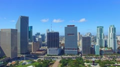 Aerial view of Miami Bayfront Park, Florida Stock Footage