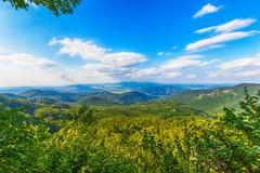 Mountain valley with Danube Stock Photos