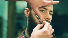 Man shave in a barbershop Stock Footage