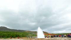 Geyser Strokkur, the tourist attraction geyser in Iceland Stock Footage
