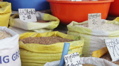 Grain in Sacks on the Market in Georgia Stock Footage