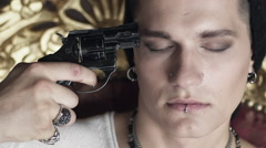 Drug dealer, addict want kill herself by gun. Slow motion Stock Footage