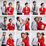 The collage from images of young businessman and businesswoman on gray Stock Photos