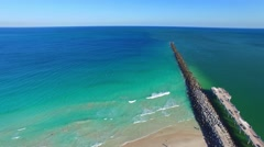 Aerial view of South Pointe Pier, Miami Beach Stock Footage
