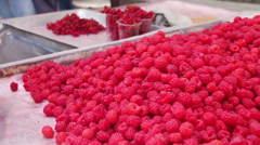 Countertop Store with Raspberries Stock Footage