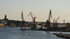 Disused shipyard cranes, Gothenburg. Seen from the Gotha River Bridge Stock Footage