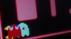 Macro dolly shot Ms. Pac Man dies in her corner Stock Footage