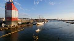 Gothenburg, Sweden. Seen from the Gotha River Bridge. Wide Stock Footage
